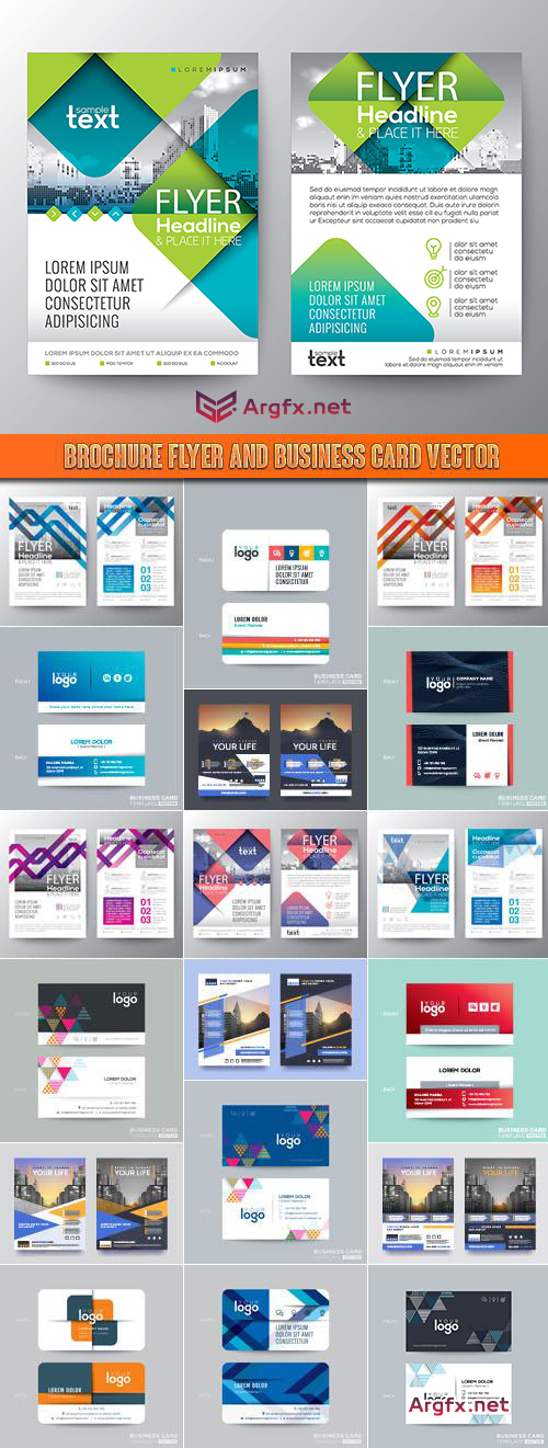 Brochure flyer and business card vector