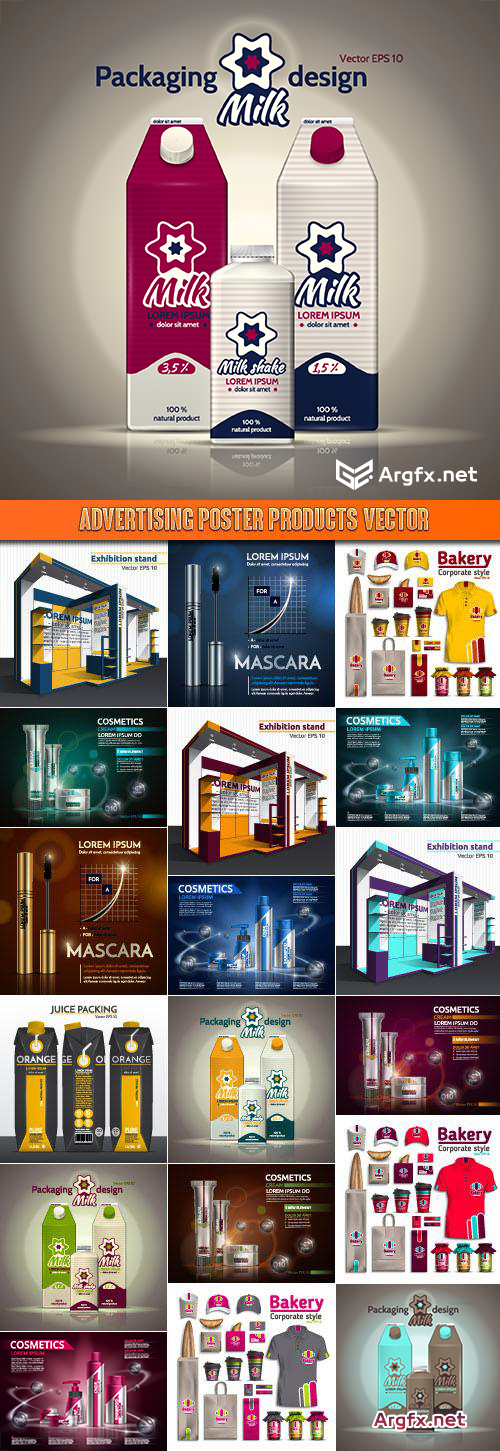 Advertising poster products vector